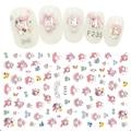 Наклейки для ногтей с изображением милого кролика и девушки, розовые художественные наклейки, наклейки-слайдеры из фольги, Стикеры для диза...