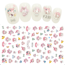 Lovely Rabbit Girl Nail Sticker Pink Art Stickers Foil Adhesive Slider Decals Designs Manicure Accessories Salon Decorations
