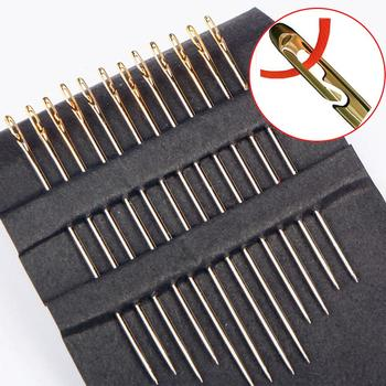 12PCS Needless Tail Side Opening hole Stainless Steel Hand Sewing Needles Paper Box Home DIY Elderly blind Multi-size Darning 12pcs blind multi size needles gold tail easy to go through from side hand sewing embroidery tool diy needlework sewing needles
