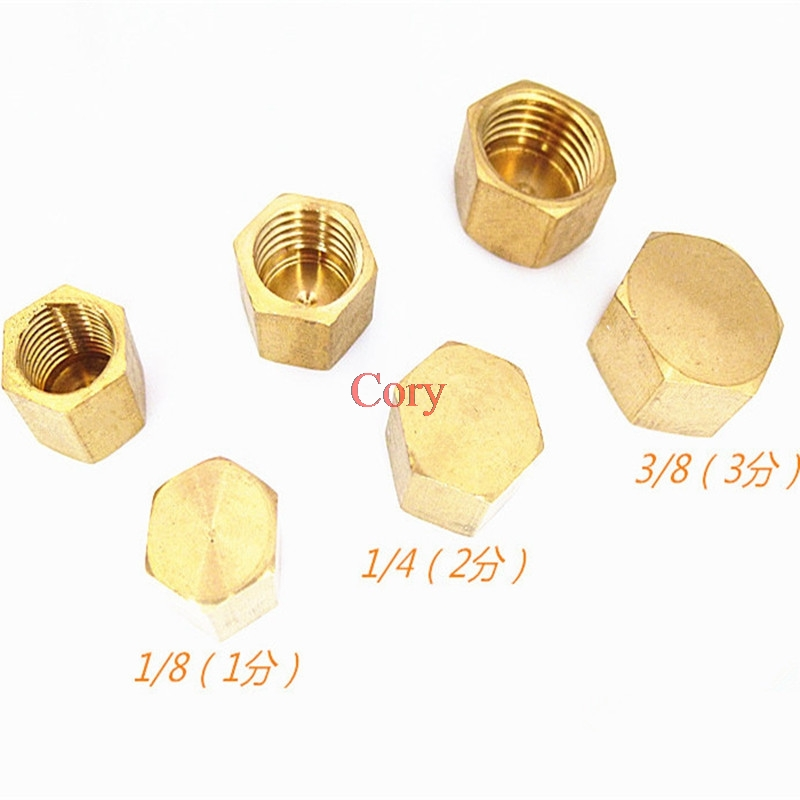 "1PC 1/8"" 1/4"" 3/8"" 1/2"" 3/4""BSP Hexagonal Female Thread Brass Pipe Cap Hex Head End Cap Plug Fitting Coupler Connector Adapter"
