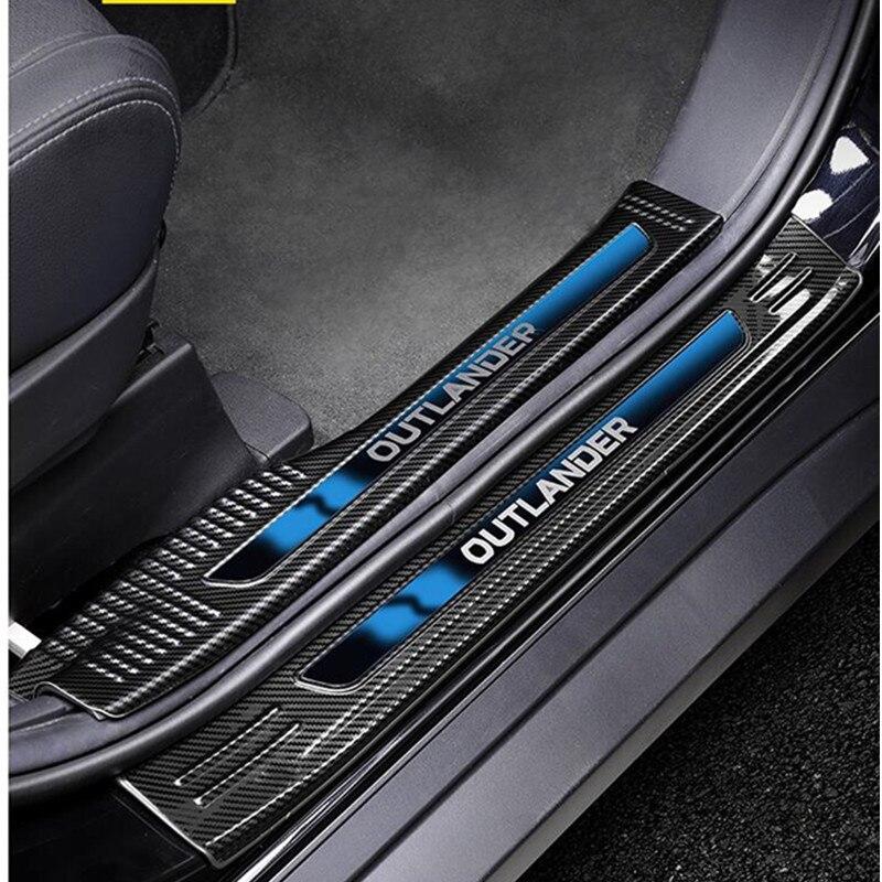 Fibre de carbone pour Mitsubishi Outlander Samurai 2013 à 2019 acier inoxydable plaque de seuil de voiture/seuil de porte protecteur de voiture