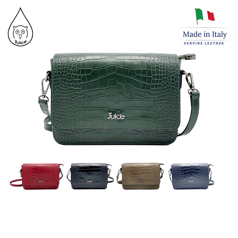 JUICE ,made In Italy, Genuine Leather, Lady Bag, CROCO, Shoulder Bag,112181