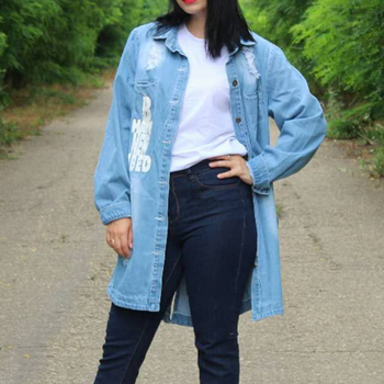 Plus Size 9XL Autumn Long Women's Denim Jacket Coat Hole Letter Oversize Casual Loose Jeans Jackets Female Outwear Windbreaker 2