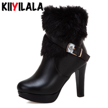 Kiiyilala Fur Side Zip Snow Boots Women Thin Heels 10 cm Platform Shoes Round Toe Rhinestone Buckle Woman Ankle Boots Size 33-43