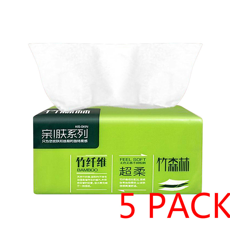 5 Pack Native Bamboo Pulp Natural Color Pumping Paper Household Napkin Soft Skin-Friendly Paper Towels 3-Ply Toilet Paper NEW