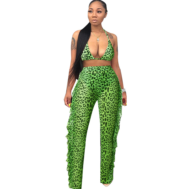 Adogirl  Women's Leopard Newspaper Printed Net Sheer Vest + Pants Sexy Set Fashion Casual Suit Summer Clothes
