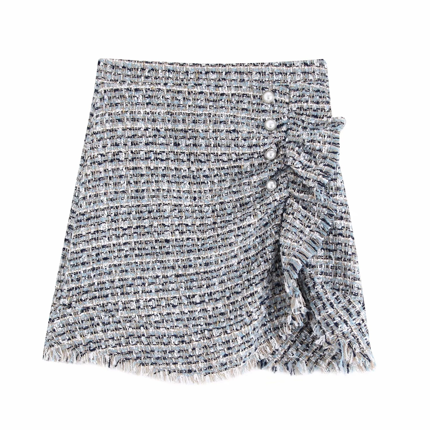 Cbb-9699 WOMEN'S Dress New Products Pearl Buttons Tweed Skirt
