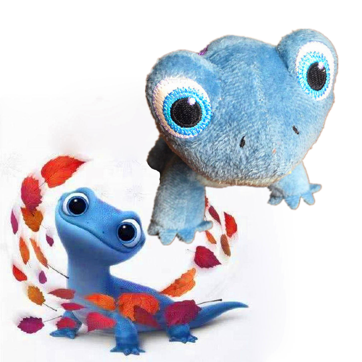 Stuffed Disney Movie Frozen 2 BRUNI The Salamander Plush Dolls Toys For Children Frozen Blue Salamander Cotton Stuffed Gift Toys
