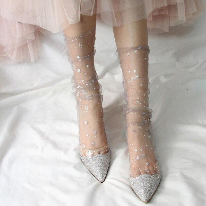 Shiny Star Tulle Socks Women Transparent Ultra-thin Socks Long Chffion Funny Socks Female Dress Calcetines Mujer