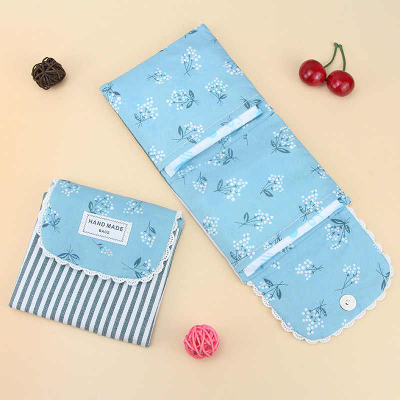 Women Girl Flower Pattern Sanitary Pad Organizer Purse Towel Lovely Storage Bags Cosmetic Pouch Case Sanitary Tampon Napkin Bag