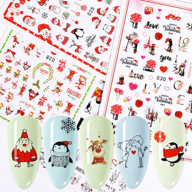 1 Sheet Christmas Nail Sticker Colorful Snow man Mixed Patterns Nail Art Transfer Decals for DIY Nail Beauty Design Decorations