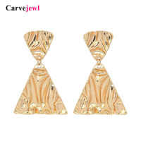 Carvejewl big chunky earrings double triangles pendant drop dangle earrings For Women jewelry unique fashion European earrings