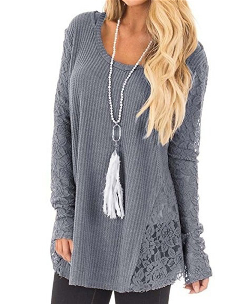 Elegant O Neck Lace Long Sleeve Gray Khaki White Knit Sweaters Women Autumn Winter Hollow Out Pullovers Black Brown Ladies Tops