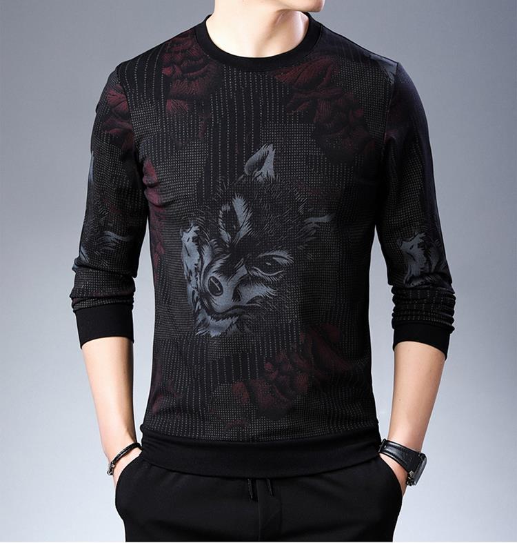 Осенне-зимняя мужская мерсеризованная хлопковая Футболка с принтом льва волка, с круглым вырезом, с длинными рукавами, с цветочным узором, топы, футболка - Цвет: style1