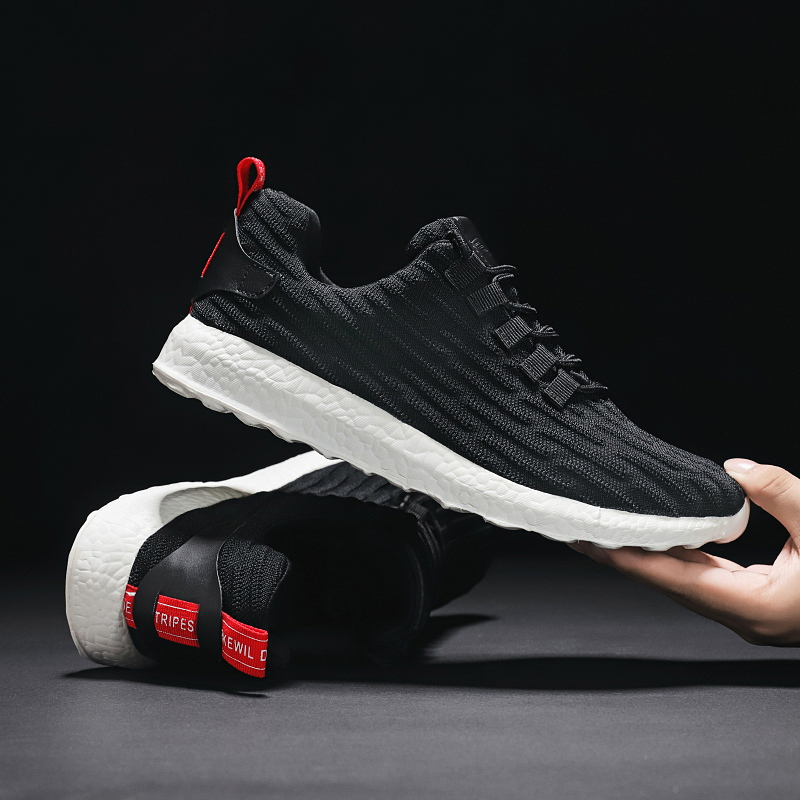 Black Sneakers Men Running Shoes Mesh Breathable Sport Outdoor Jogging Shoes Lace-up Casual Shoes Men Lightweight Size 39~47