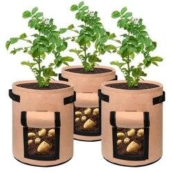 Uprawa ziemniaków torby 7 galonów torba do sadzenia w ogrodzie napowietrzanie tkanina garnek z uchwytami do sadzarki 3 opakowanie w Torby ogrodnicze od Dom i ogród na
