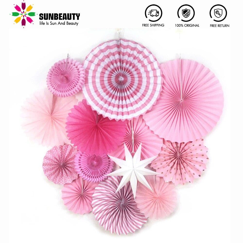 Розовые вечерние украшения для дня рождения, 13 шт., подвесные бумажные вееры, цветы, свадьба, детский душ, роза, вечерние принадлежности
