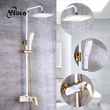 YiDLon Shower Faucet Brass Black Wall Mounted Bathtub Faucet Rain Shower Head Square Handheld Slide Bar Bathroom Mixer Tap Set стоимость