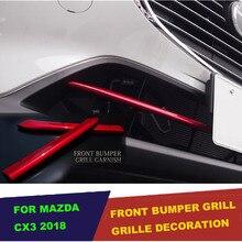 UBLUEE Für Mazda CX 3 CX3 2017 2018 2019 Zubehör auto Kühlergrill Grill Untere Abdeckung trim abdeckung Außen ABS Chrom ROT