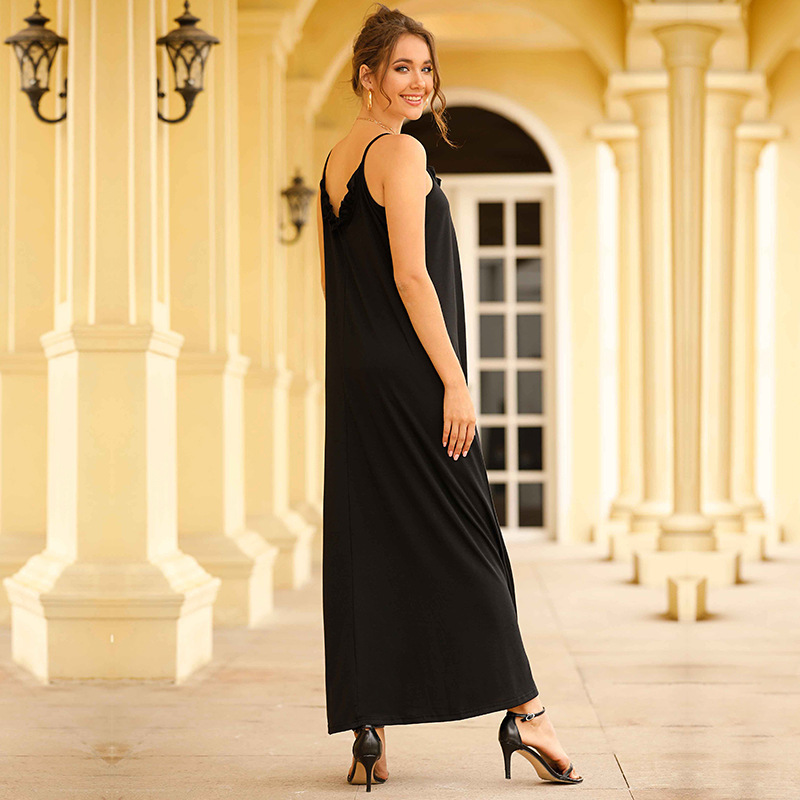 Sexy Women Maxi Dress Black Sling Dress Female Summer Sleeveless V-Neck Vest Long Women Dresses