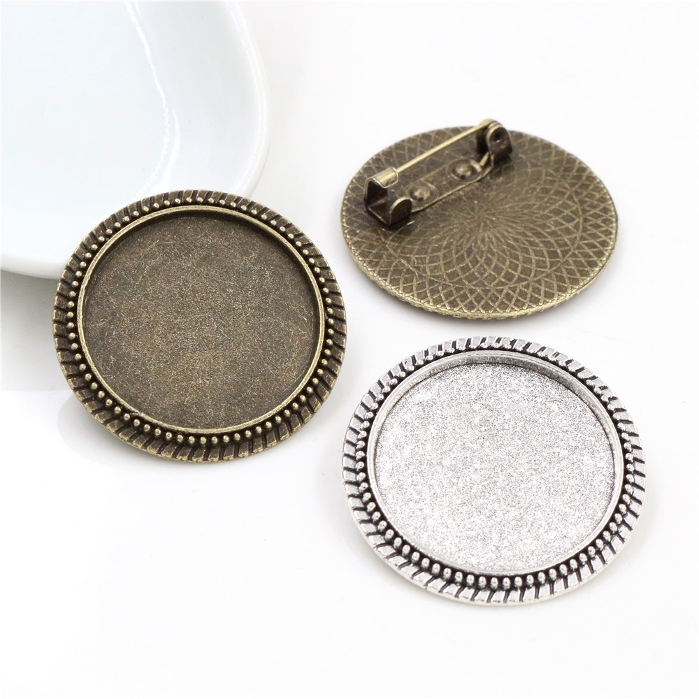 New Fashion 5pcs/Lot 25mm Inner Size Retro Series Antique Silver Plated And Bronze Brooch Baroque Style Cabochon Base Setting