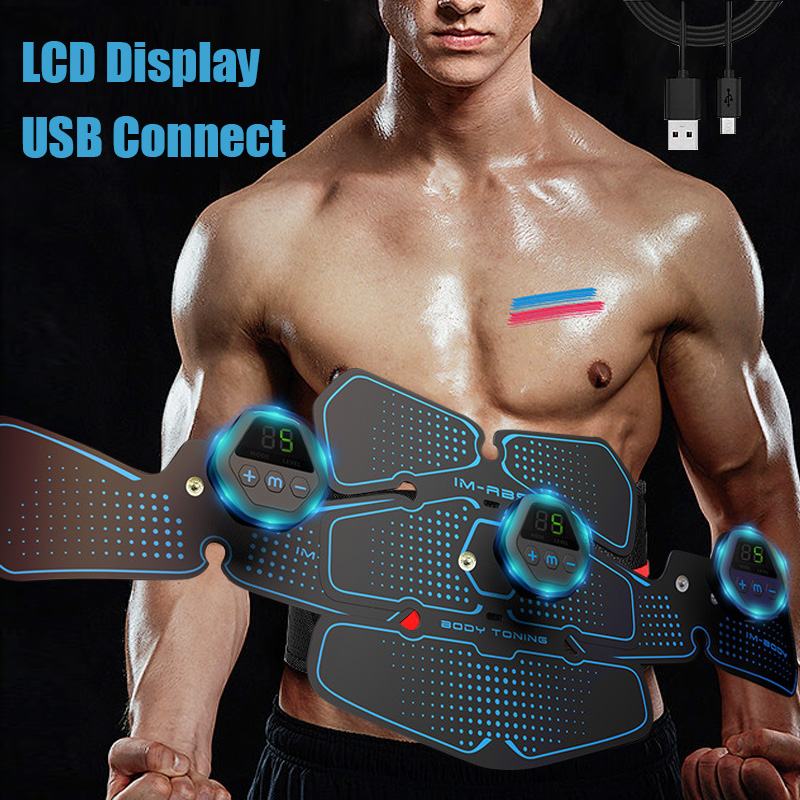 LCD Display USB Abdominal Muscle EMS Stimulator Trainer EMS Abs Fitness Equipment Training Gear Electrostimulator Toner Massage