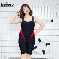Women One Piece Swimsuit Large Size 6XL Sport Swimwear Patchwork Professional Swim Suit Mid Shorts Quick Dry Plus Size Swimsuit