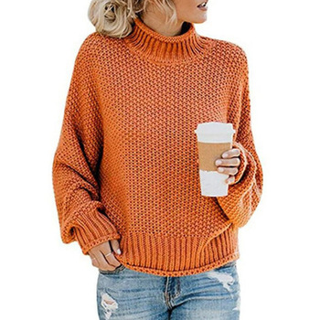 Turtleneck Women Winter Knitted Sweater Female Autumn Sexy Casual Loose Solid Color Pullovers Knitwear Tops Jumper Pull Femme turtleneck fashion patchwork knitted sweater women pullovers contrast color streetwear sweaters tops autumn winter pull femme