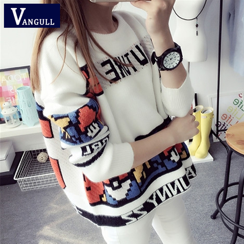 Vangull Letter Print Sweater Preppy Style Knitted Pullovers 2019 Autumn Fashion Long Sleeve O-Neck Women Sweaters And Pullovers