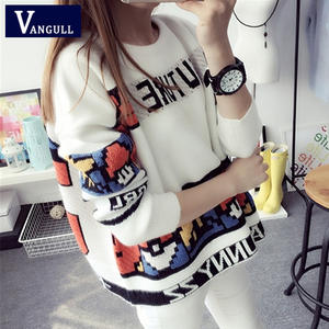 Vangull Print Sweater Pullovers Letter Knitted Long-Sleeve Preppy-Style Fashion O-Neck