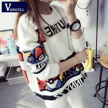 Vangull Letter Print Sweater Preppy Style Knitted Pullovers 2019 Autumn Fashion