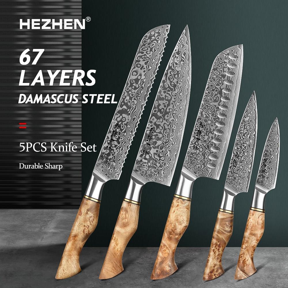 HEZHEN 1-5PC Knife Set Japanese Damascus Steel Chef Santoku Bread Paring Utility Professional Slicing knife Cook Kitchen Knife