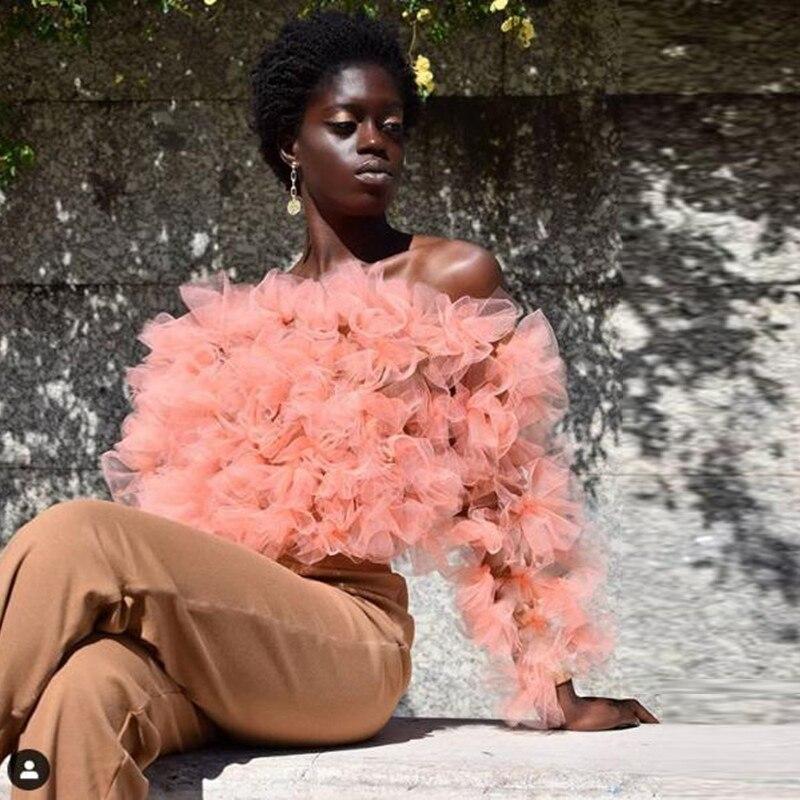 À la mode hors de l'épaule à manches longues Organza Blouse chemises femmes 2020 à volants gonflé Tulle formel hauts fête personnalisé toute couleur libre