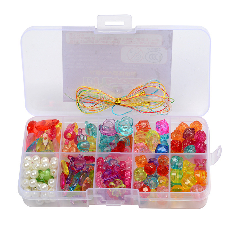 Beads Toys For Girls 10 Years Children's Puzzle Bracelet Geometric Shape Beads Diy Amblyopia Candy Colors Wear Bead Kids Gifts
