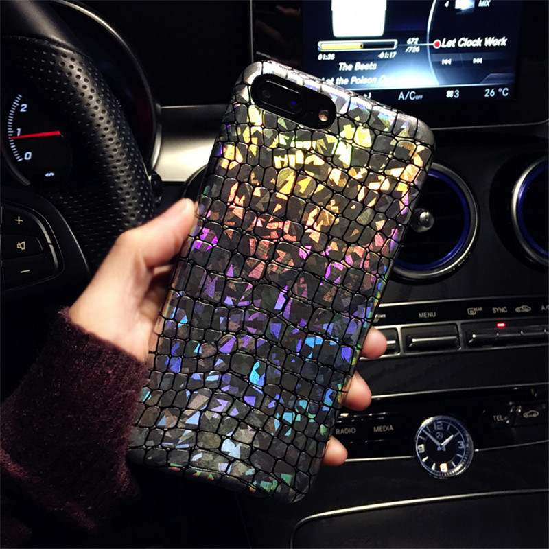 KSTUCNE Luxury Laser Crocodile Pattern Phone Cases For iPhone X 6 6s 6plus Fashion Discoloration Iridescent Case For iPhone 7 in Fitted Cases from Cellphones Telecommunications
