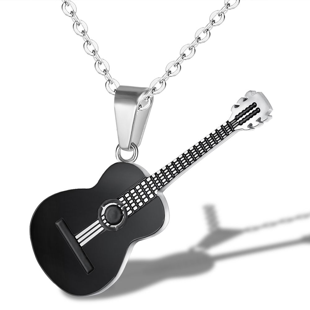 Chain <font><b>Necklaces</b></font> <font><b>Unisex</b></font> For Women Men Music <font><b>Guitar</b></font> Pendants <font><b>Titanium</b></font> <font><b>Steel</b></font> Girls Boys Fashion Decoration Jewelry image