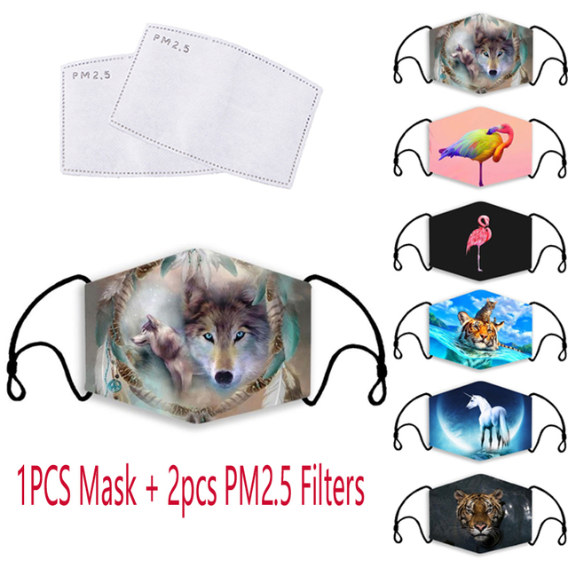 Animal 3D Print Protective Mask Reusable PM2.5 Filter Mouth-Muffle Cover Washable Anti Dust Bacteria Proof Flu Face Adult Masks