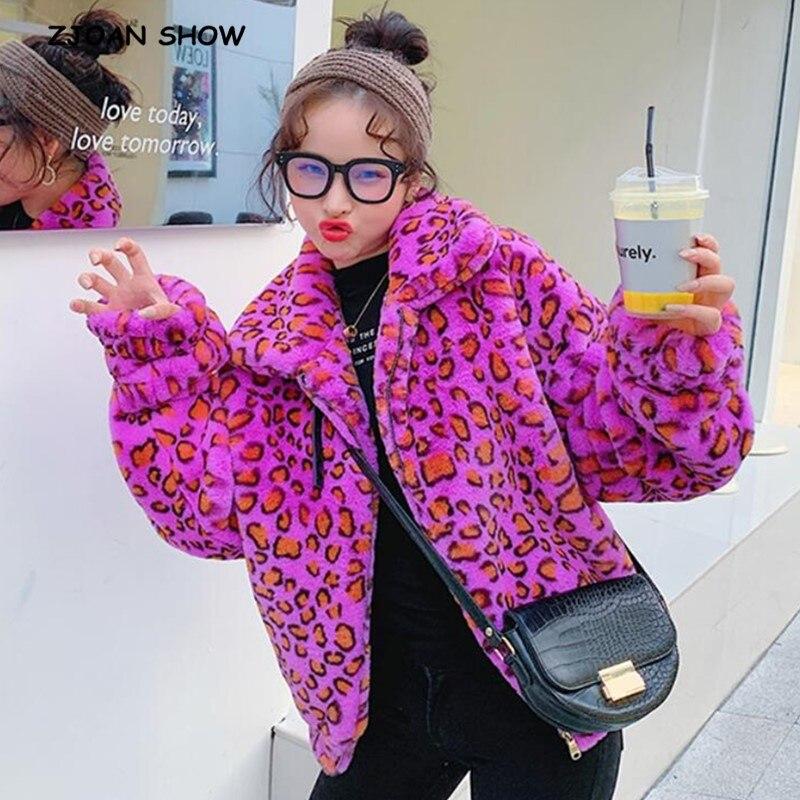 2019 Winter Lapel Hairy Shaggy Colored Faux Leopard Fur Coat Purple Long Sleeve Furry Fur Zipper Women Jacket Short Outerwear