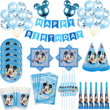 2021 Blue Mickey Mouse Happy Birthday Party Decorations Children's Plate Cup Straw Napkin Disposable Tableware Event Party Set