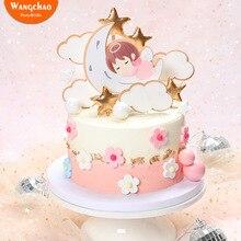 1 Набор, милый ангел, луна, звезды, облака, тема для малышей, первый день рождения, торт Топпер, украшение для торта, Детские вечерние принадлежности