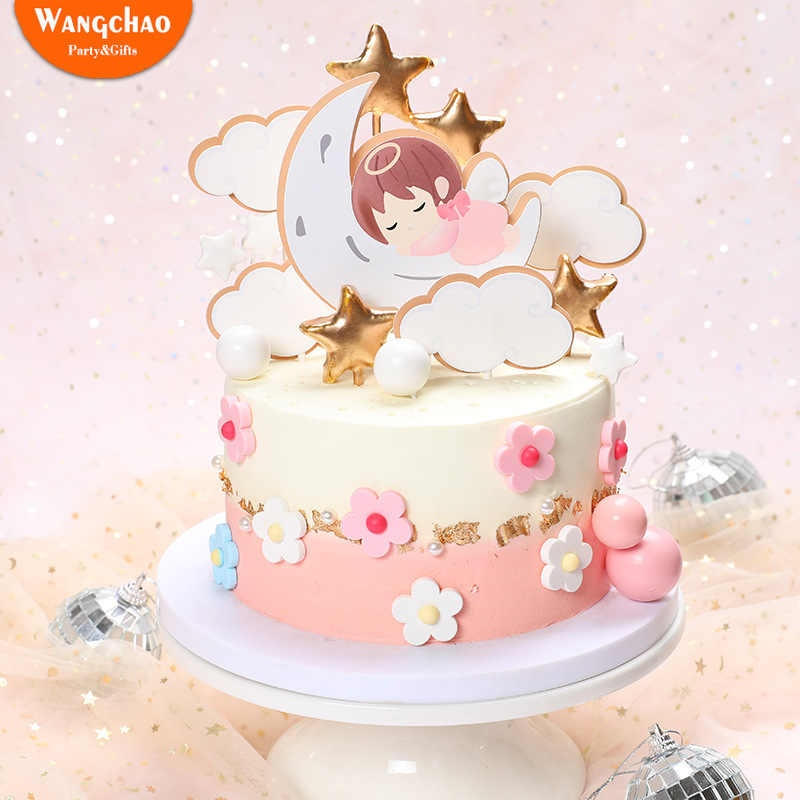 Tremendous 1 Set Cute Angel Moon Stars Clouds Babys Theme 1St Birthday Cake Funny Birthday Cards Online Elaedamsfinfo