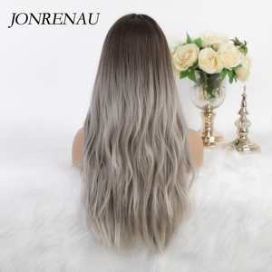 Image 3 - JONRENAU 24 Inches Ombre Brown Long Synthetic Natural Wave Hair Wigs Heat Resistant Hair Wigs for Black Women