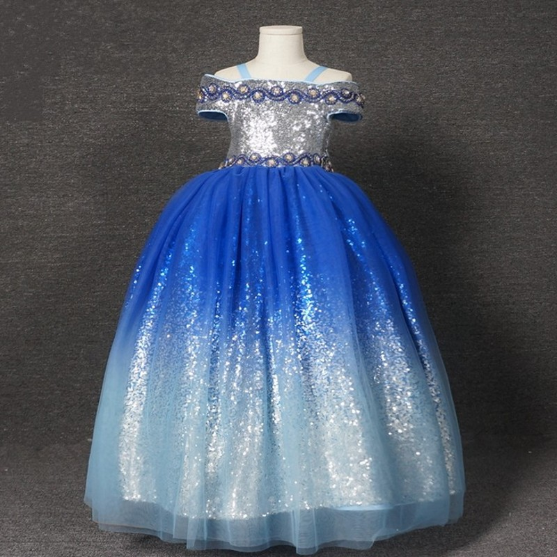 Real Photo Wedding Party Dress Blue And Silver Sequin Off The Shoulder Floor Length Ball Gown Lovely Flower Girl Dresses