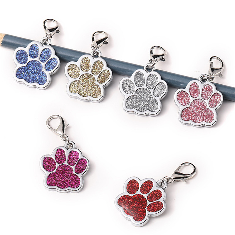 New Paw Shape Pendants Pet Dog Accessories Alloy ID Tags Puppy Pet Card Pet Collar Pendant for Pet Cat Dog Supplies