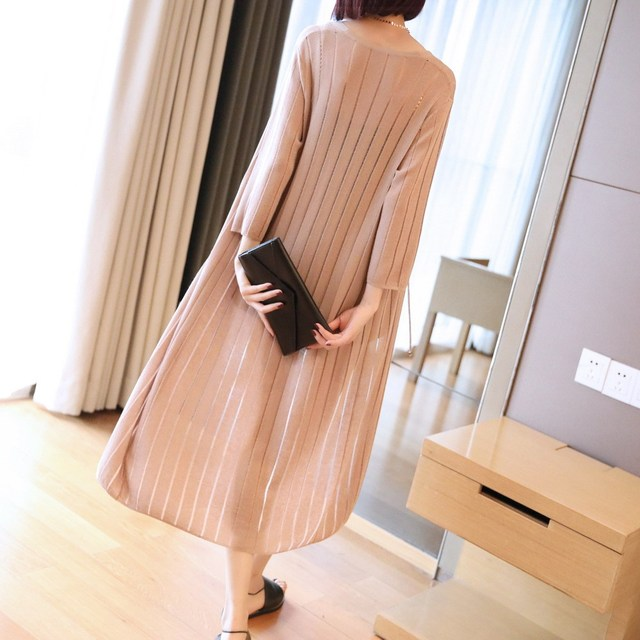 Loose-Fit Casual Mid-length Thin Sweater Shawl Coat Women's 2020 New Style Summer Three-quarter-length Sleeve Cardigan Sweater 4
