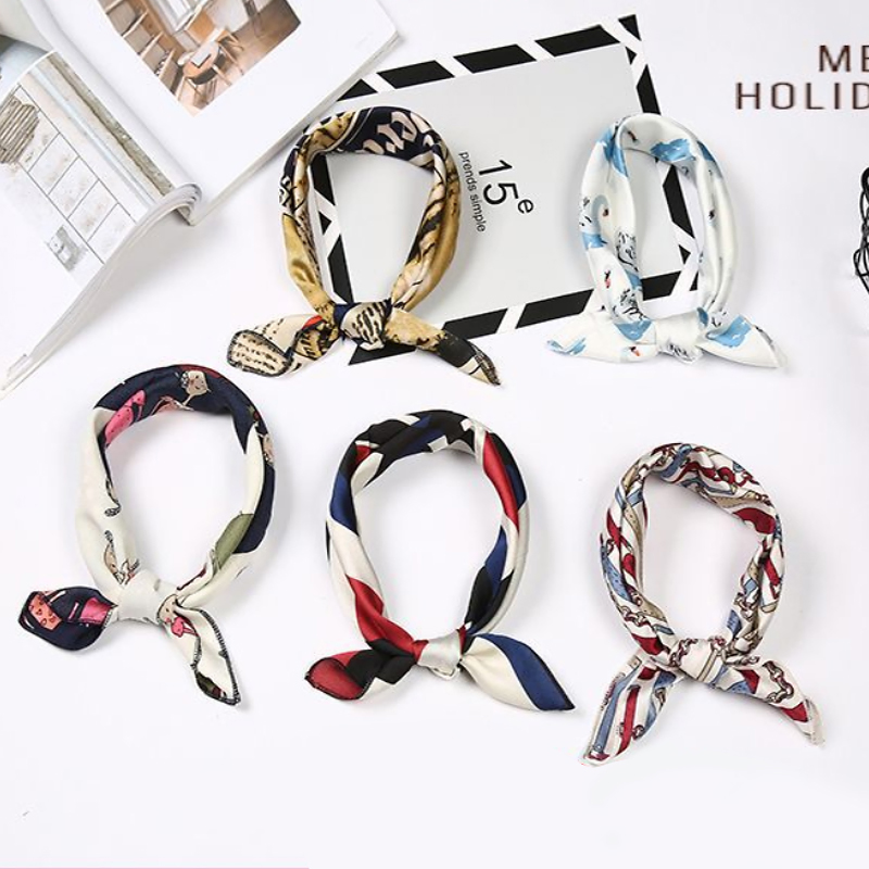 Silk Scarves For Women Spring Summer Hair Scarf Fashion Head Neck Hair Tie Band Elegant Multicolor Stripe Square Scarf