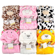 Lovely fleece baby bath towel cute animal shape kid hooded baby towel bathrobe cloak baby receiving blanket neonatal hold to be(China)