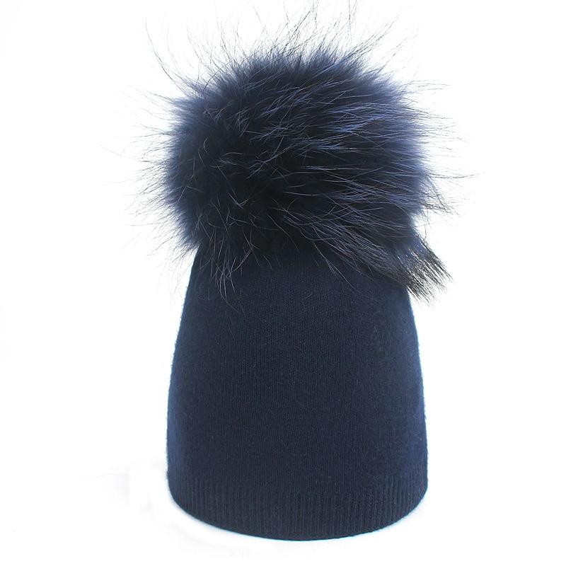 Детская шапка, вязаная цветная шапка с помпоном, Шапка-бини с меховым помпоном, зимняя шапка для мальчиков и девочек, теплая мягкая шапка Skullies Bone для детей - Цвет: C