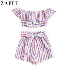 ZAFUL American Flag Stripes Off Shoulder Two Pieces Set Women Suit Summer Sets Ruffles Crop Top And High Waist Belted Shorts Set(China)