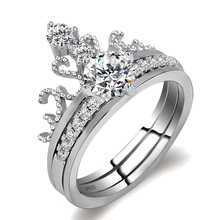 New Fashion Jewelry Zircon Stainless Double Layer Zircon Crown Rings For Women Gifts Anillo Anel Bague Punk silver 925 ring mens cat design stud earrings
